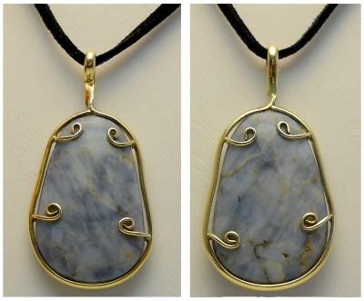 Blue Quartz Pendant, in red brass soldered setting
