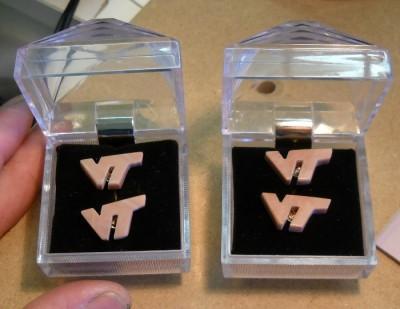 "VT Letters cufflinks made of Dolostone aka ""Hokie™ Stone"""