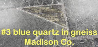 Blue Quart in gneiss slab from Madison Co. in RVCC soapstone countertop