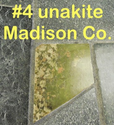 Unakite slab from Madison Co. in RVCC soapstone countertop