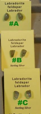 3 pairs of Labradorite Post Earrings view - 2