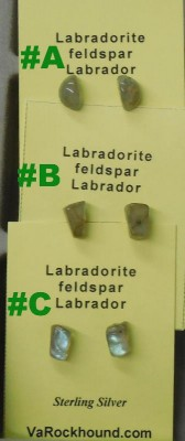 3 pairs of Labradorite Post Earrings view - 3