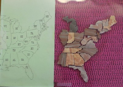 Rock map of states in the USA