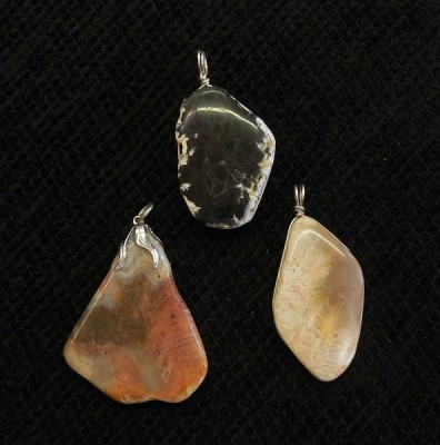 WV Coral & Plume Agate Pendants, wrapped in Sterling Silver