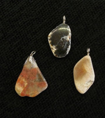 WV Coral & Plume Agate Pendants (back), wrapped in Sterling Silver