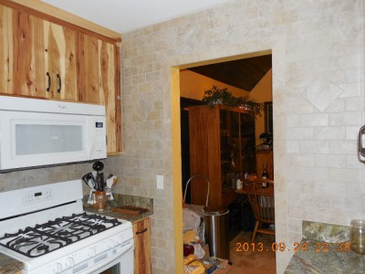 New kitchen, rainforest green marlbe counter, beige subway tiles-02