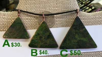 Verdite pendant in shape of pyramid / triangle wrapped in copper - side 1