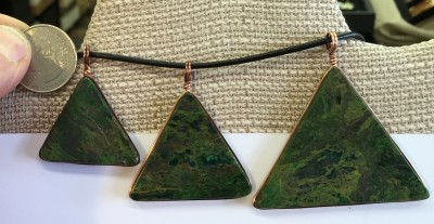 Verdite pendant in shape of pyramid / triangle wrapped in copper - side 2