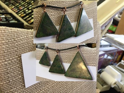 Verdite pendant in shape of pyramid / triangle wrapped in copper - side 2 - edge view