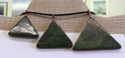 Verdite pendant in shape of pyramid / triangle wrapped in copper - side 2 - bottom view