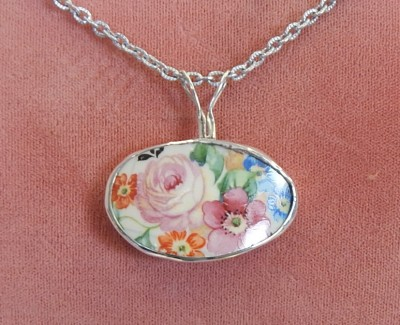 Tea Cup pendant wrapped in Sterling Silver -01