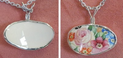 Tea Cup pendant wrapped in Sterling Silver -02
