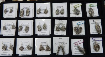 Earrings and pendants of Nelsonite rock, Virginia's official state rock-1