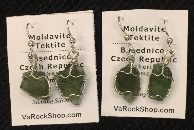 Moldavite tektite earrings in sterling silver wire.